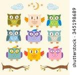 set of vector owls.   Shutterstock .eps vector #345198689