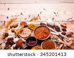 spices and herbs on  wooden... | Shutterstock . vector #345201413
