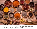 spices and herbs on wooden... | Shutterstock . vector #345202328