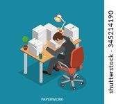 paperwork isometric flat vector ... | Shutterstock .eps vector #345214190