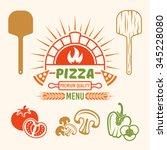 brick oven and pizza vector... | Shutterstock .eps vector #345228080
