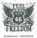feel the freedom. route 66.... | Shutterstock .eps vector #345232346