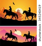 two cowboys riding galloping... | Shutterstock .eps vector #345240419