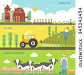 farming concept banners set in... | Shutterstock . vector #345241454