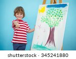 happy boy with thumbs up beside ... | Shutterstock . vector #345241880