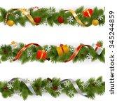 vector christmas border set 3   Shutterstock .eps vector #345244859