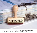 approved   rubber stamp with... | Shutterstock . vector #345247370