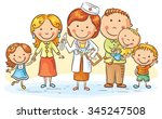 family doctor with her patients ... | Shutterstock .eps vector #345247508