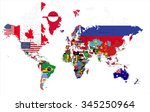 political map of the world with ... | Shutterstock .eps vector #345250964