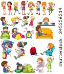 boys and girls doing activities ... | Shutterstock .eps vector #345256214