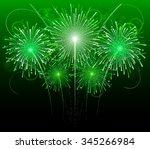 Green Festive Fireworks  Vector