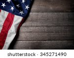 flag of the usa on wooden... | Shutterstock . vector #345271490
