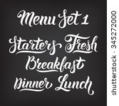 menu hand lettering collection. ... | Shutterstock .eps vector #345272000
