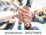 group of people supporting each ... | Shutterstock . vector #345274643