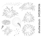 Set Fireworks In Black Outline...