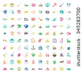 fishing 100 icons set for web... | Shutterstock .eps vector #345283700