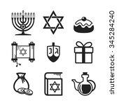 jewish holiday hanukkah icons... | Shutterstock .eps vector #345284240