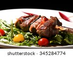 fresh tuna skewers grilled and... | Shutterstock . vector #345284774