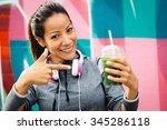 successful fitness urban woman... | Shutterstock . vector #345286118