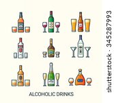 alcoholic drinks icons in flat... | Shutterstock .eps vector #345287993