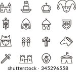 medieval set of outline icons | Shutterstock .eps vector #345296558