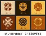 set of six abstract logo... | Shutterstock . vector #345309566