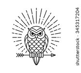 Owl Outline Emblem In Geometri...