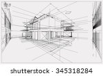 abstract 3d render of building... | Shutterstock .eps vector #345318284