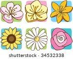 flower icons   Shutterstock .eps vector #34532338