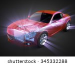 transparent car concept with...   Shutterstock . vector #345332288