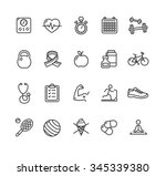 fytness health outline icon set.... | Shutterstock . vector #345339380