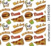 fast food doodle. hamburger ... | Shutterstock .eps vector #345340208