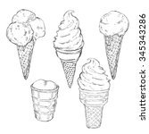 vector sketch set of ice cream | Shutterstock .eps vector #345343286