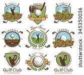 set of vintage golf emblems... | Shutterstock .eps vector #345350036
