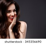 beauty model woman with long... | Shutterstock . vector #345356690