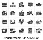 black data and analytics icons  ... | Shutterstock .eps vector #345366350