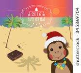 funny monkeys on tropical...   Shutterstock .eps vector #345369704