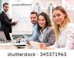 view of a boss heading a...   Shutterstock . vector #345371963