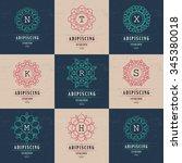 set luxury logos template... | Shutterstock .eps vector #345380018