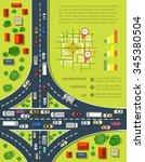 road infographics with highways ... | Shutterstock . vector #345380504