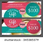 gift voucher certificate coupon ... | Shutterstock .eps vector #345385379
