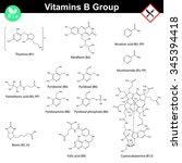 vitamins of b group  molecular...   Shutterstock .eps vector #345394418