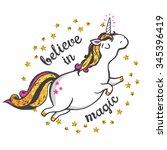 gold glitter unicorn isolated... | Shutterstock .eps vector #345396419