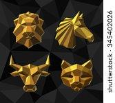 Stock vector vector illustration golden lion horse bull cat polygon style 345402026
