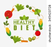 healthy lifestyle design ... | Shutterstock .eps vector #345423728