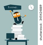 happy businessman jumping on... | Shutterstock .eps vector #345424889