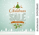 merry christmas sale winter... | Shutterstock .eps vector #345428660