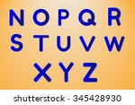 vector dark blue font with seam ... | Shutterstock .eps vector #345428930