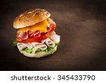 delicious sandwich with ham ... | Shutterstock . vector #345433790