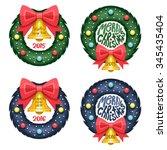 set of christmas wreath | Shutterstock .eps vector #345435404